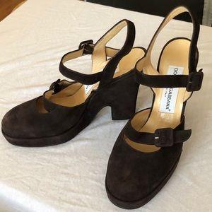 DOLCE & GABBANA suede buckle Mary Jane heels